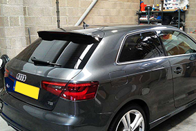 Audi A3 rear window tinting with Suntek 18%.