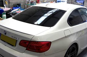 BMW 3 series coupe rear window tinting LLumar 20%.